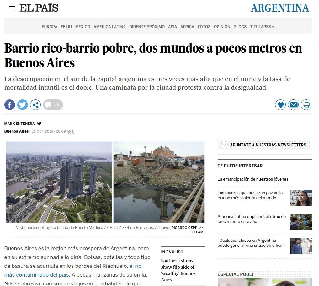 Artículo en la edición online de El País
