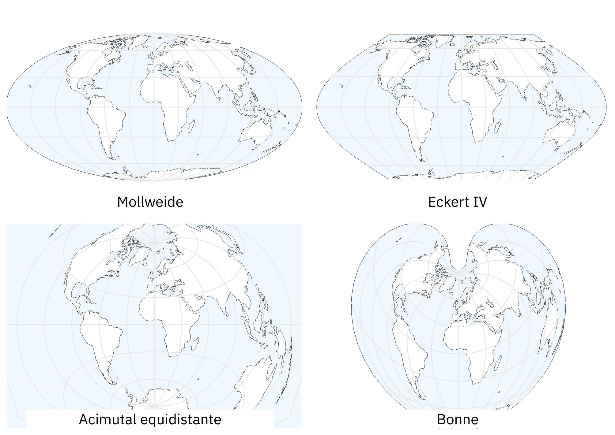 Distintos sistemas de proyección cartográfica (cortesía Daniel R. Strebe 2011)